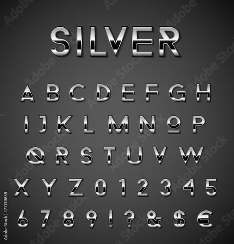 Papiers peints Metal Silver alphabet set
