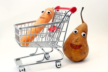 Pear pushes the shopping cart with a carrot