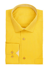 men's yellow shirt on a white background