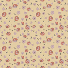 delicate little flowers petals and leaves seamless pattern