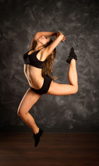 dancing girl jumping.