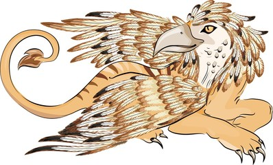 Creature with body of lion,head and wings of eagle