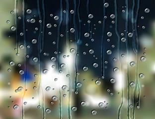 rain drops city