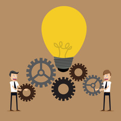 Illustration of businessman with gears, team work,