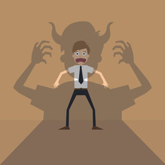 Vector cartoon of Businessman terror devil shadow