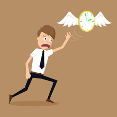 clock with wings fly escape away  from a businessman