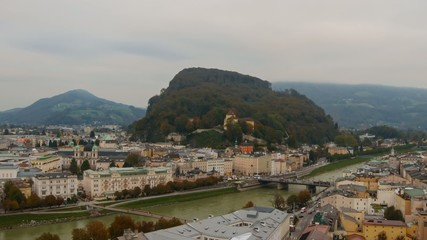 View of Salzburg and traffic and pedestrians around the city