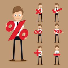 Set of businessman characters symbol