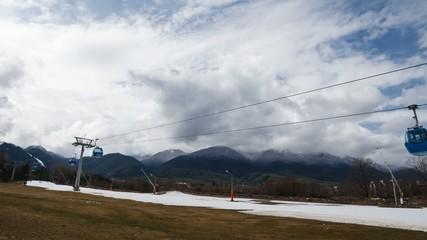 Ropeway lifting skiers to mountain skiing