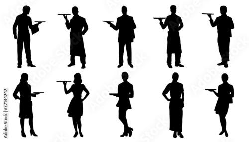 waiter silhouettes - 77134242