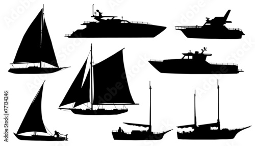 yacht silhouettes - 77134246