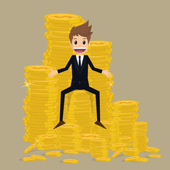 businessman sitting on stack of gold coin