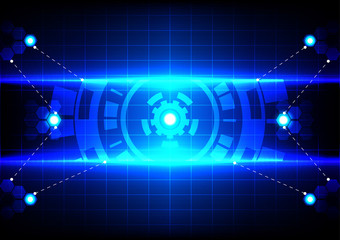 abstract circle  and light blue effect technology