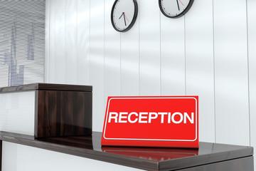 Reception Sign Plate 3d render interior