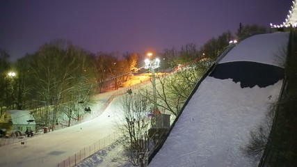 The skiing in the evening