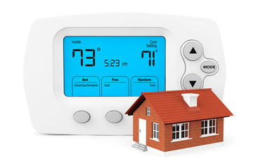 Modern Programming Thermostat with small home
