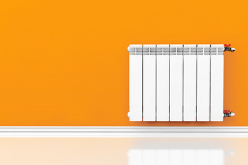 Modern Heating Radiator with orange wall