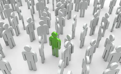 Gruppe mit Anführer oder Chef, Bewerbung