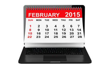 February calendar over laptop screen
