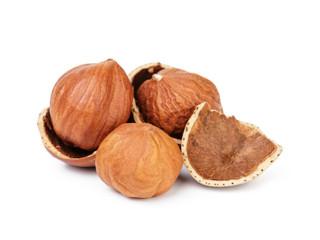 organic peeled hazelnuts isolated