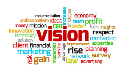 Vision keywords on isolated white