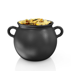 Iron Pot with Golden Coins for St. Patrick's Day