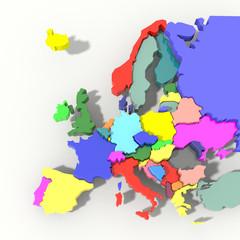 Mappa Europa 3D colore con rilievo