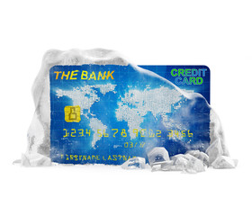 Frozen Bank Account Concept. Credit Card in Ice