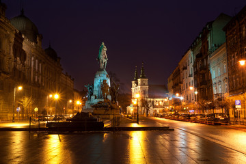 Grunwald Monument on Jana Matejki Square at night, Krakow
