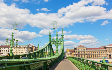 Liberty Bridge (green bridge) in Budapest in sunny summer day