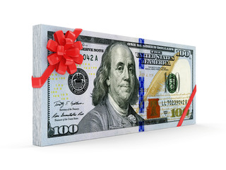 Stack of Dollar Bills with Red Ribbon and Bow