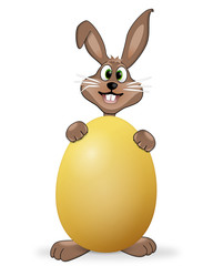 cheeky easter bunny with yellow egg