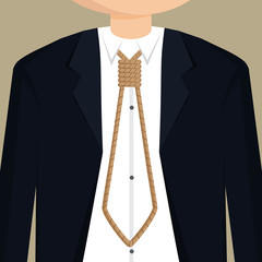 businessman necktie with rope