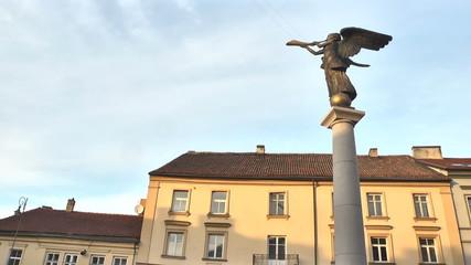 Lithuania. Vilnius. Angel Statue At Uzupio. Time Lapse.