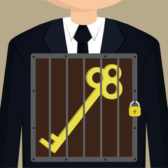 Business man confined key