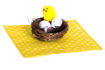 Easter Birds nest with eggs and chicken