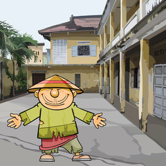 cartoon Vietnamese man in ragged clothes and a hat