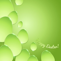 Simple shiny eggs on gradient background - green.
