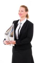 businessfrau mit aktenordner