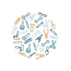 Linear renovation tools vector illustration
