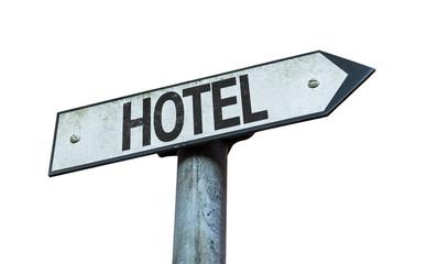 Hotel sign isolated on white background