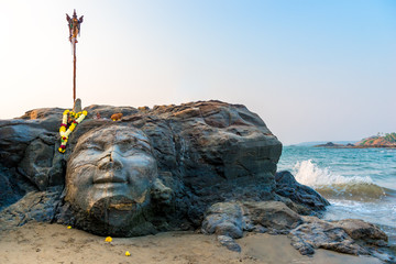 Attractions Vagator Beach in North Goa face of Shiva