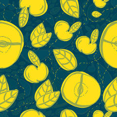 Vector modern apple fruit seamless pattern with yellow leaves