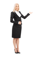 Businesswoman gesturing with her hand