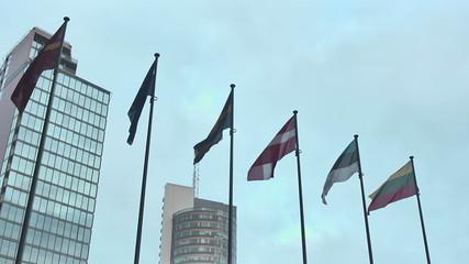 Vilnius. Skyscrapers and EU Flags.mov