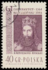 Stamp printed in Poland shows Kazimierz Wielki