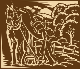 Farmer Farming Plowing With Farm Horse Woodcut