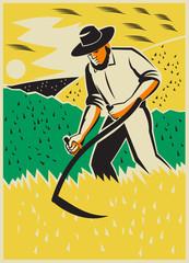 Farmer With Scythe Harvesting  Field Retro
