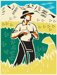Farmer Standing With Scythe Field Woodcut