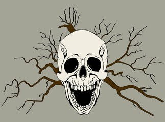 Background with skull and branches